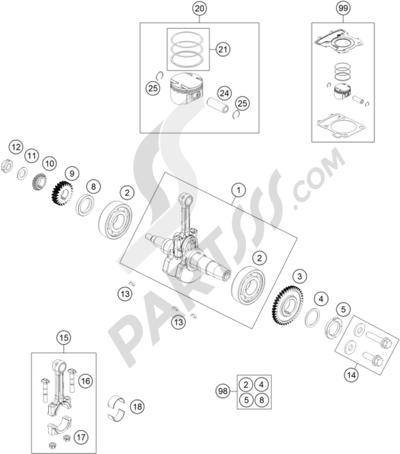 KTM 125 DUKE WHITE ABS BAJ.D 2014 EU. 分解図 純正部品をオンライン購入