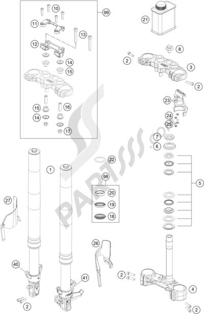 KTM 390 DUKE WHITE ABS CKD 2014 EU. 分解図 純正部品をオンライン購入