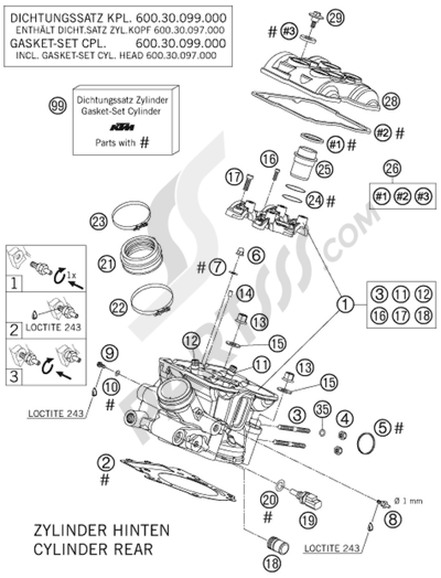KTM 990 SUPERDUKE ORANGE 2006 EU. 分解図 純正部品をオンライン購入