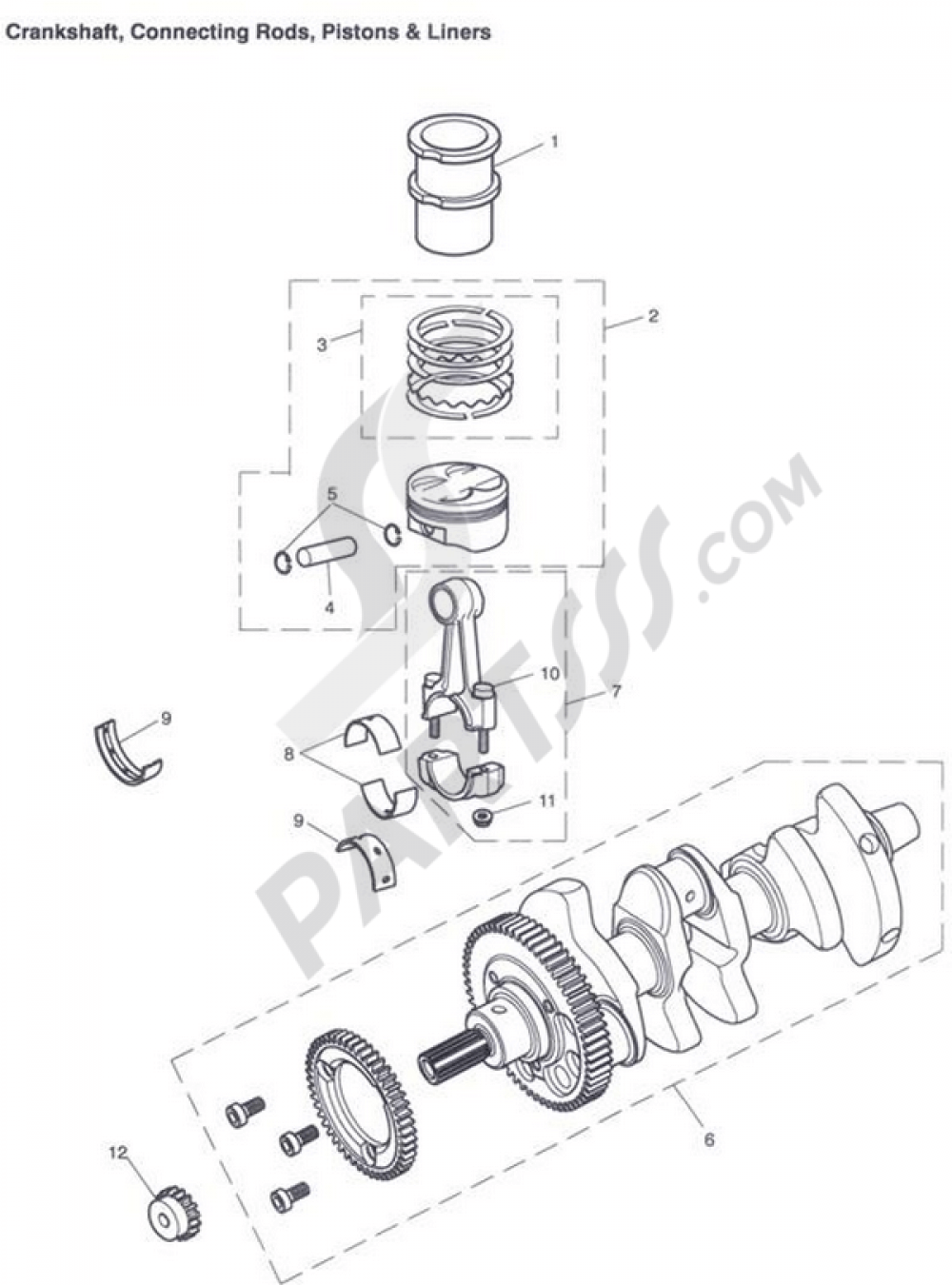 Crankshaft, Connecting Rods, Pistons & Liners Triumph