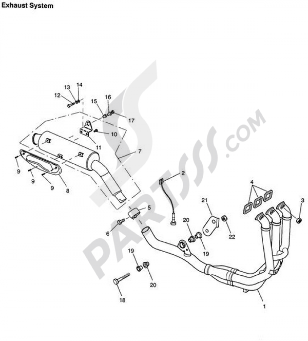 Exhaust System Triumph TIGER 955i VIN FROM 198875 UNTIL 287503