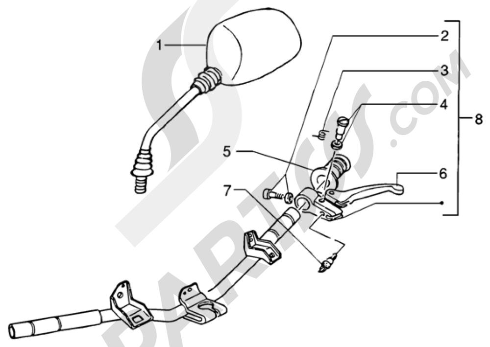 Piezas que componen el manillar Piaggio NRG MC3 DT 1998-2005