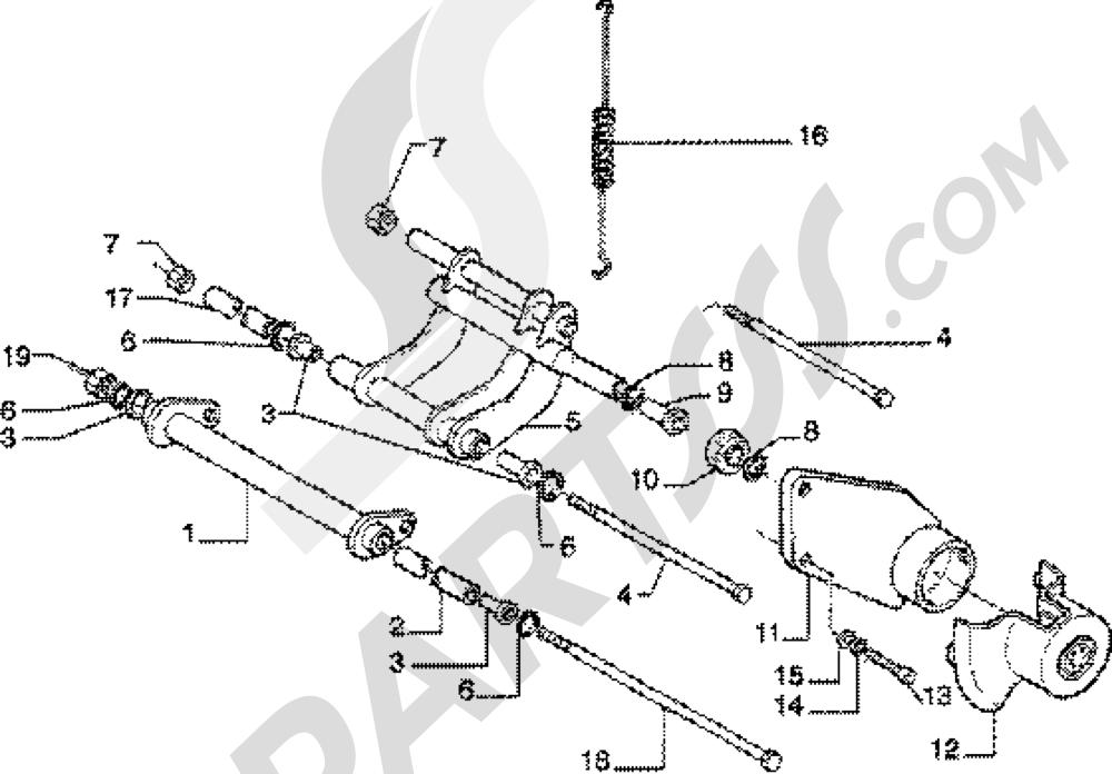 Brazo oscilante Piaggio Skipper 150 4T 1998-2005