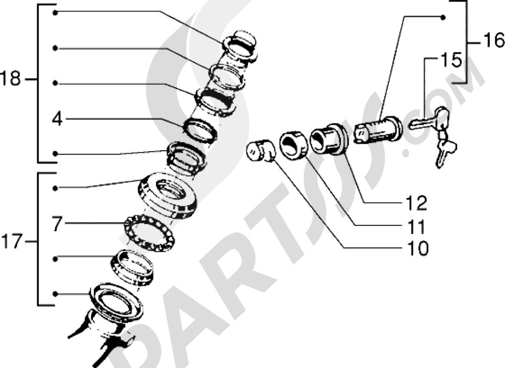 Cojinetes de direccion-antirrobo Vespa Vespa PX 200 E 1998
