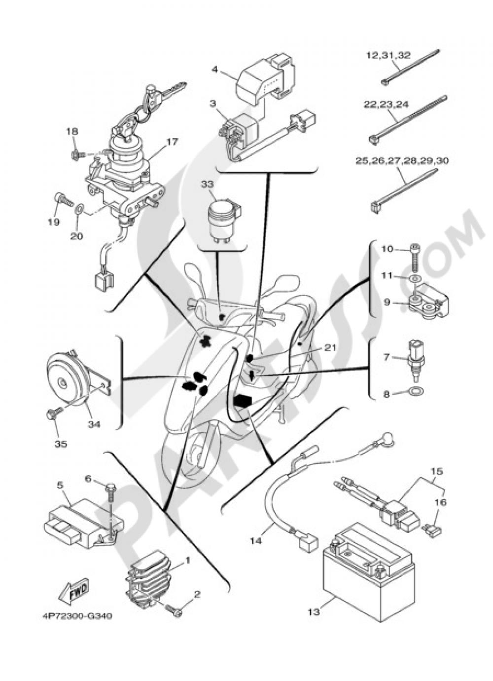 medium resolution of electric equipment 1 yamaha vity 125 2009 rh partsss com yamaha cygnus 125 wiring diagram yamaha majesty 125 wiring diagram