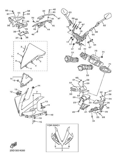 Yamaha YZF-R1 2014. 分解図 純正部品をオンライン購入