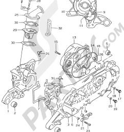 suzuki motorcycle ay50 ay50 y motor transmision 2c crankcase model ay50 k1 1000 png [ 1000 x 1332 Pixel ]