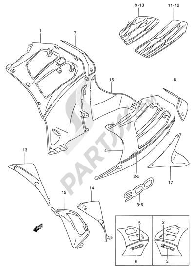 Suzuki RF900R 1996. 分解図 純正部品をオンライン購入