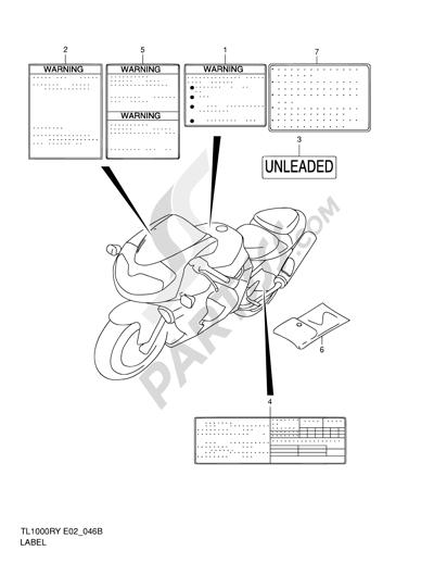 Suzuki TL1000R 2002 Dissassembly sheet. Purchase genuine