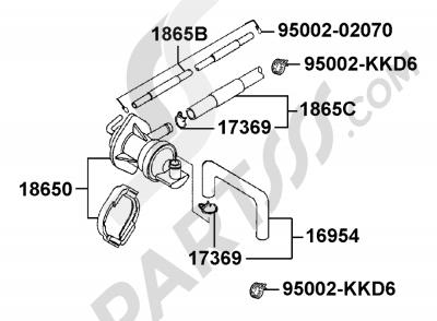 Kymco ZING 125 RH25BF Dissassembly sheet. Purchase genuine