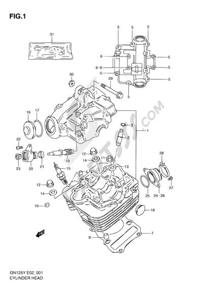 Suzuki GN125 2001 Dissassembly sheet. Purchase genuine