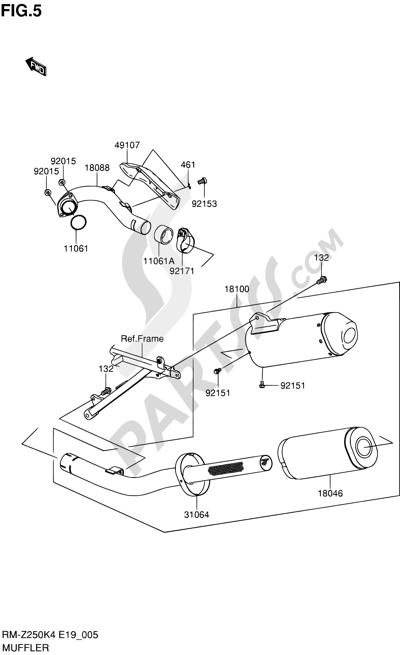 Suzuki RM-Z250 2004. 分解図 純正部品をオンライン購入