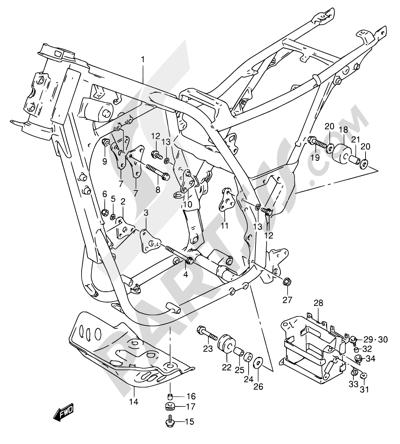 Suzuki DR650RSE 1992 Dissassembly sheet. Purchase genuine