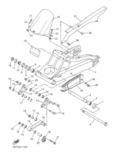 Yamaha YZF-R6 2002 Dissassembly sheet. Purchase genuine