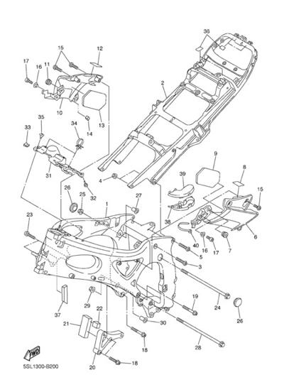 Yamaha YZF-R6 2003 Dissassembly sheet. Purchase genuine
