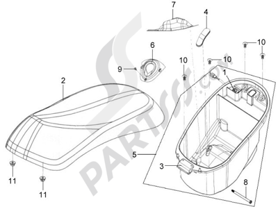 Sym MIO 50 Dissassembly sheet. Purchase genuine spare