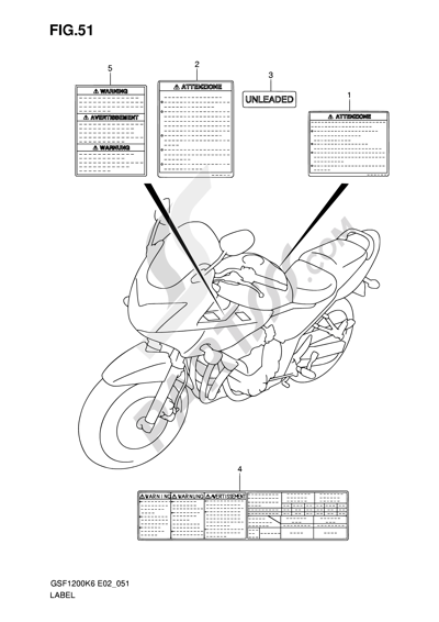 Suzuki BANDIT GSF1200SA 2006 Dissassembly sheet. Purchase