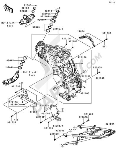 Kawasaki 1400GTR 2009 Dissassembly sheet. Purchase genuine