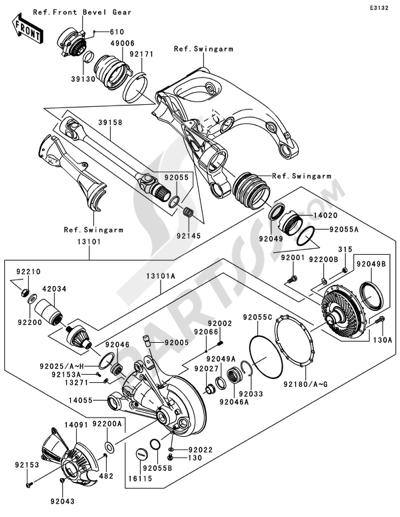 Kawasaki 1400GTR ABS 2010. 分解図 純正部品をオンライン購入