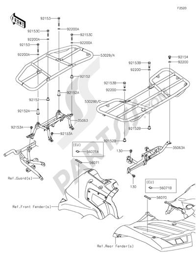 Kawasaki BRUTE FORCE 750 4X4I EPS 2016. 分解図 純正部品をオンライン購入