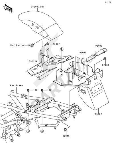 Sezionamenti di ricambi Kawasaki ER-5 2005. Compra on-line