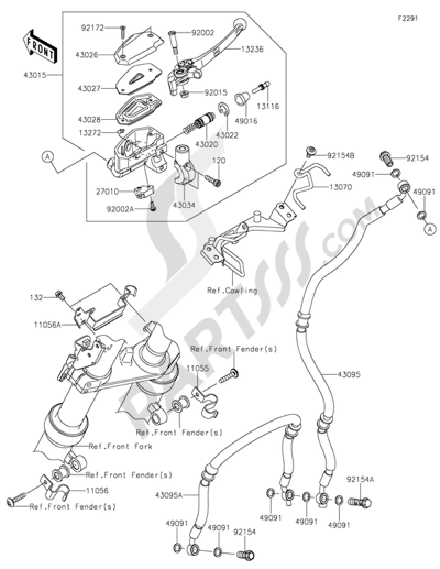 Sezionamenti di ricambi Kawasaki ER-6n 2012. Compra on