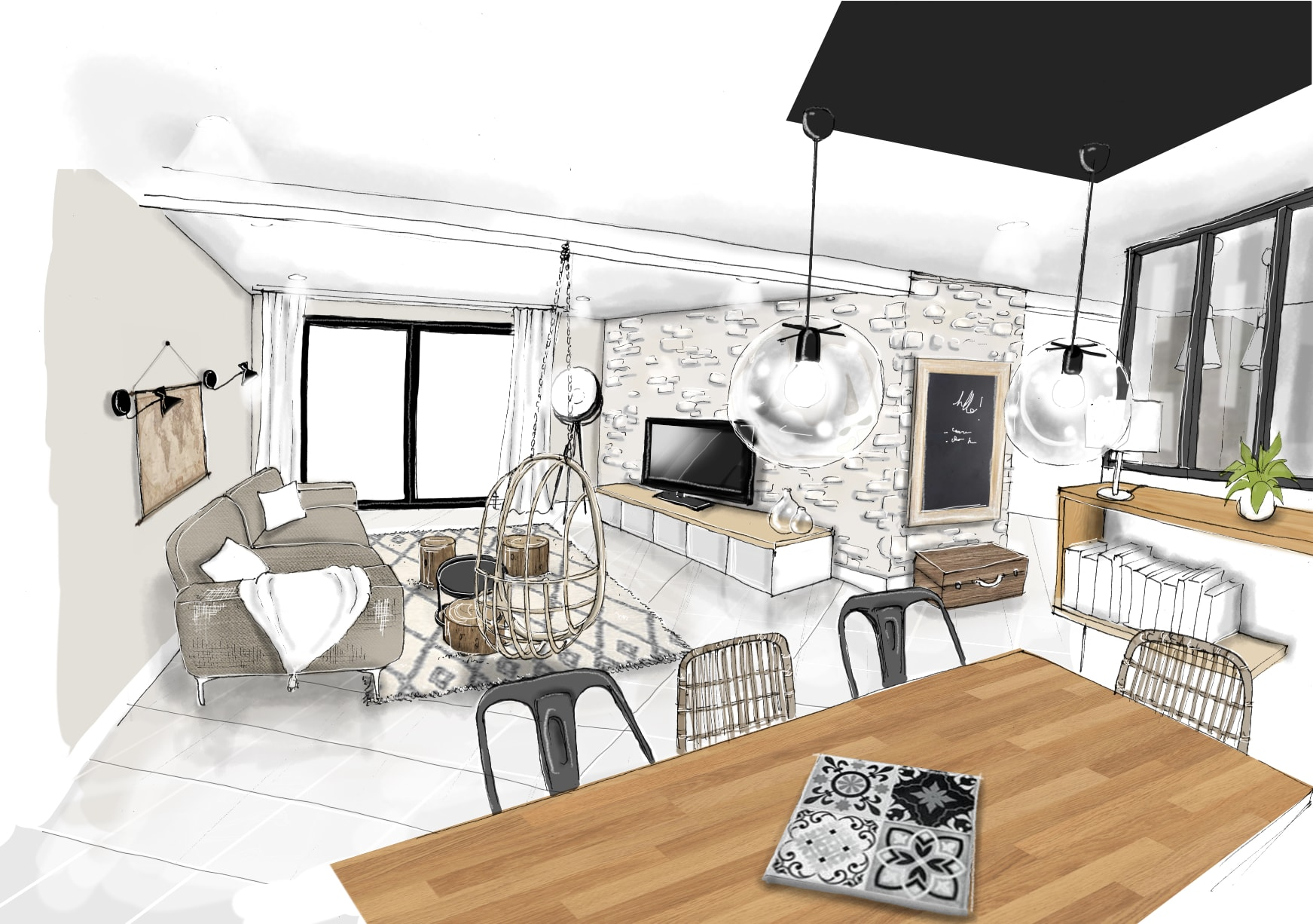 Deco Salon Industriel Cocooning