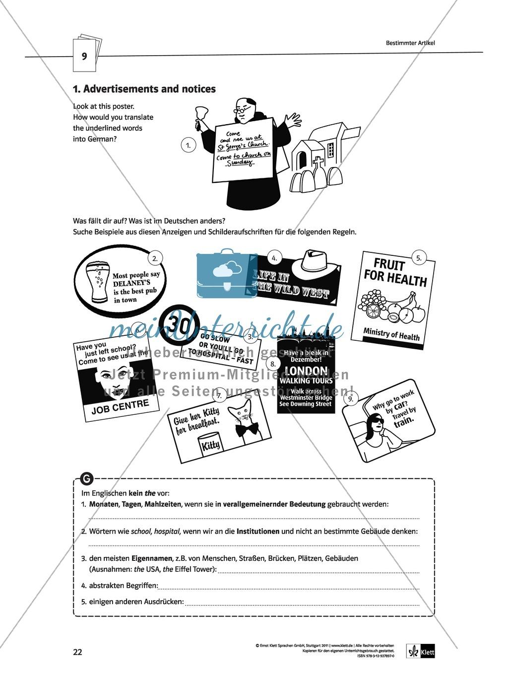 Englische Grammatik üben: Arbeitsblätter zu Artikeln