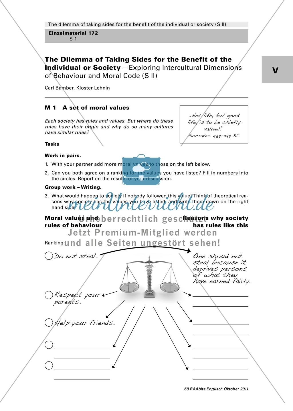 A Set Of Moral Values Worksheet With Commentary