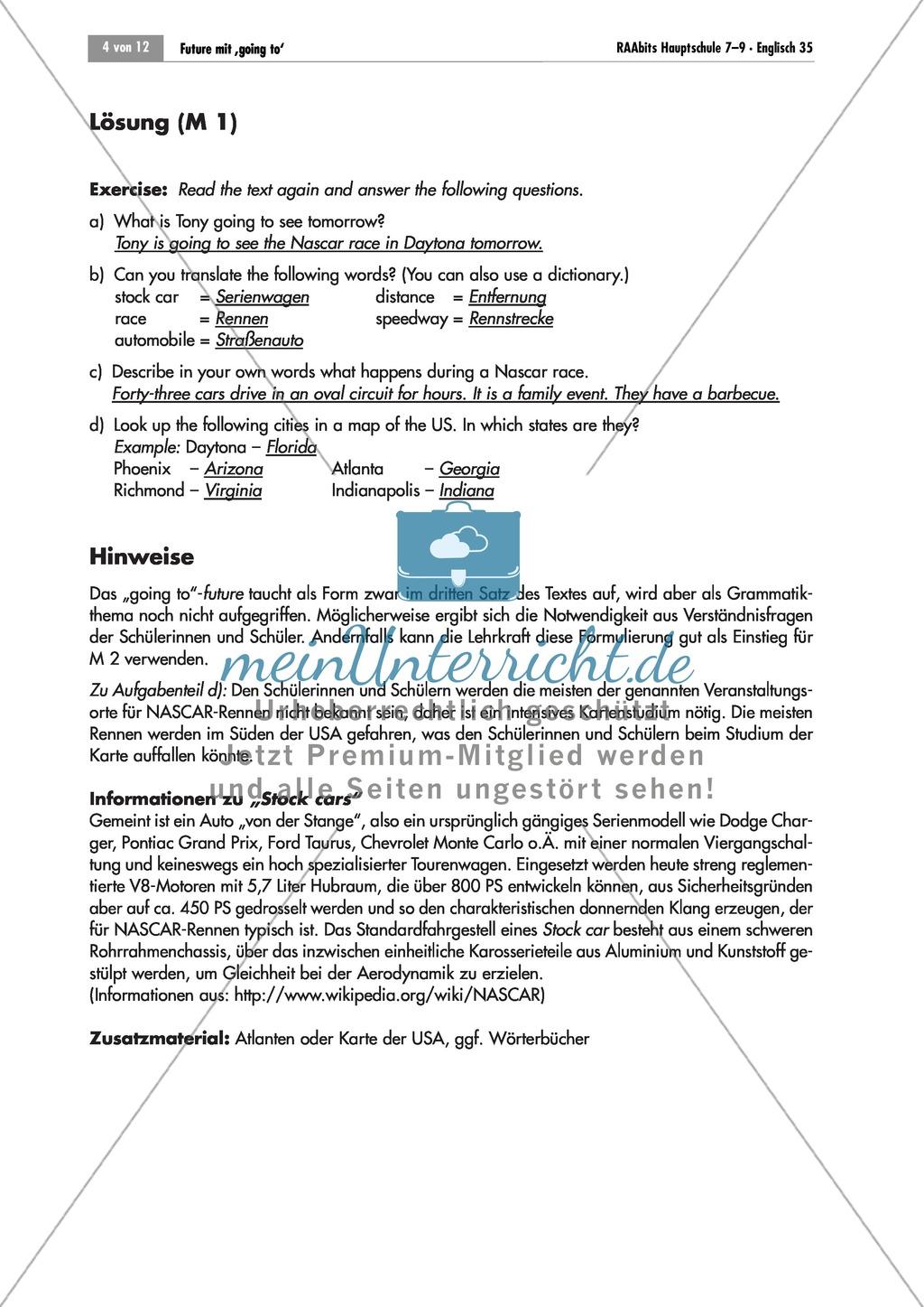 Ubungen Zum Going To Futur Anhand Des Themas Nascar Rennen Arbeitsblatter Losungen