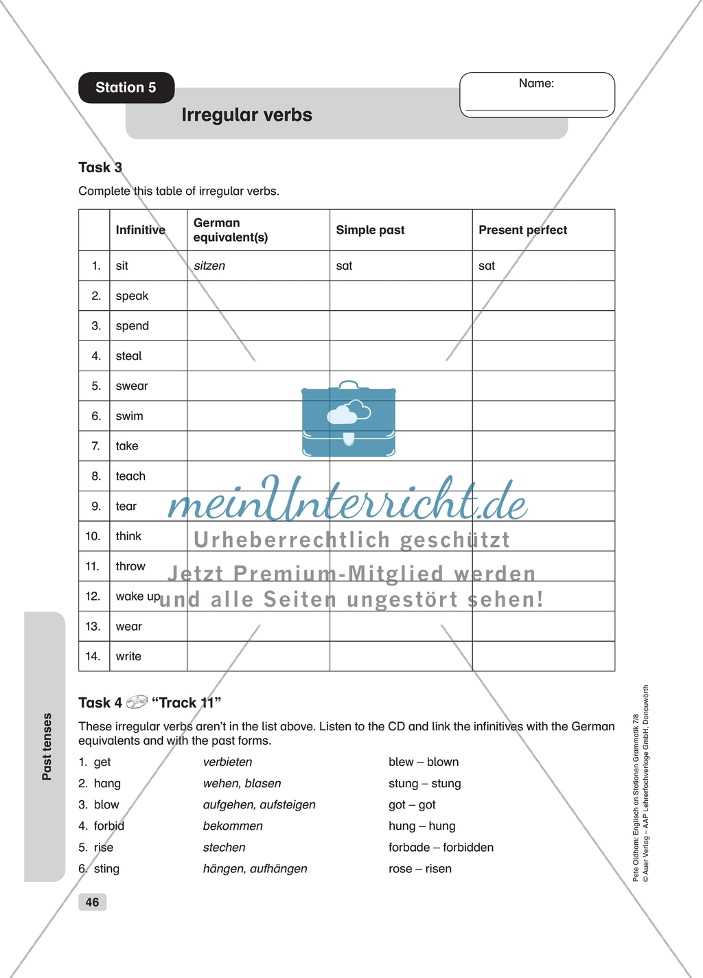 Grammar Irregular Verbs Worksheet And Solution