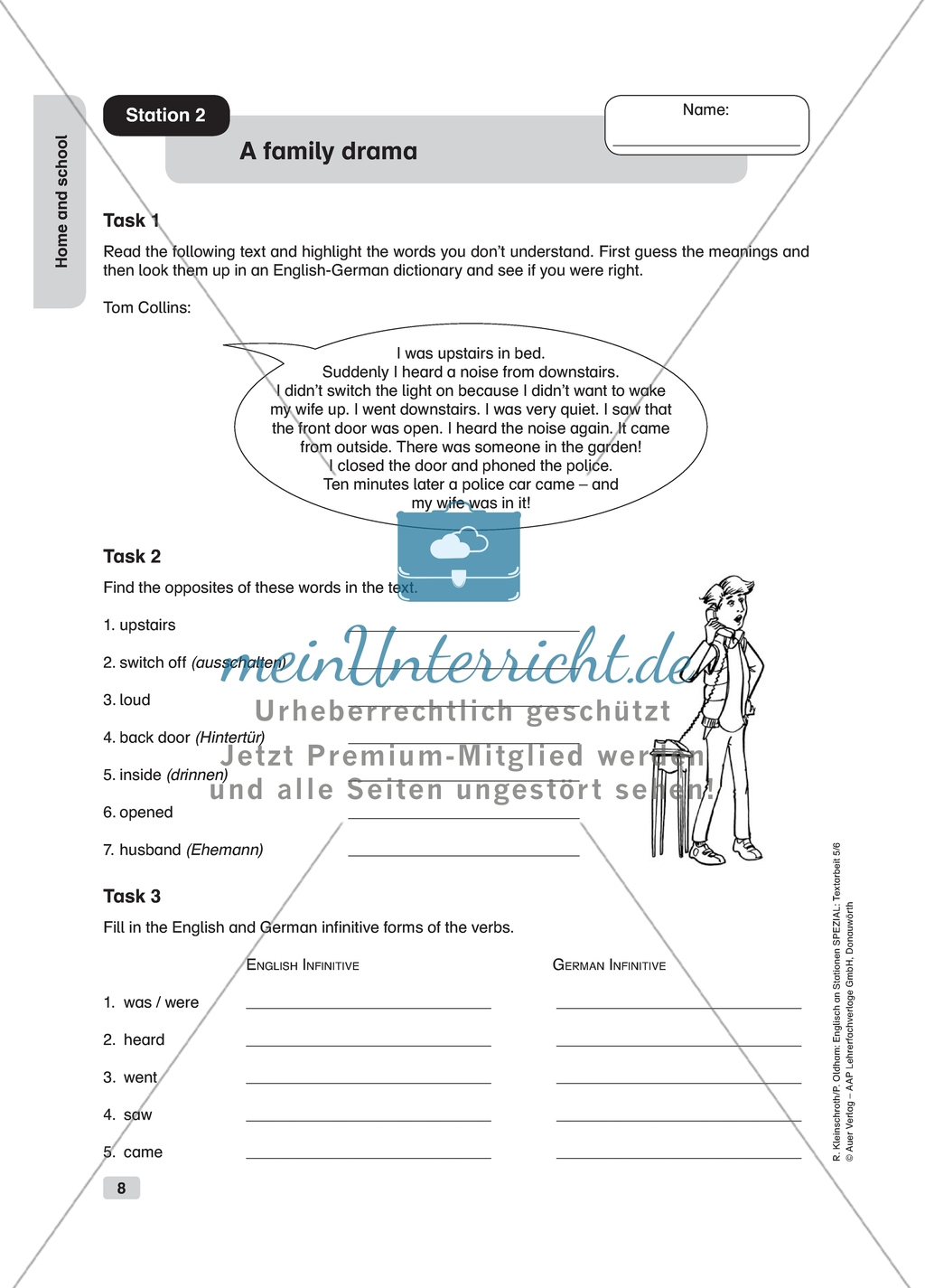 Text Work A Family Drama Worksheet And Solution