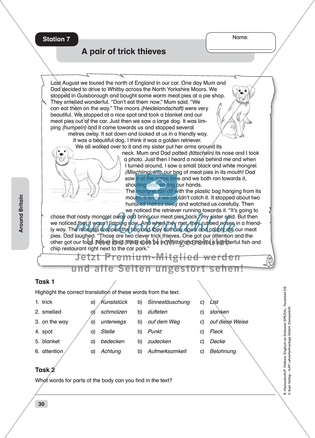 Text Work A Pair Of Trick Thieves Worksheet And Solution