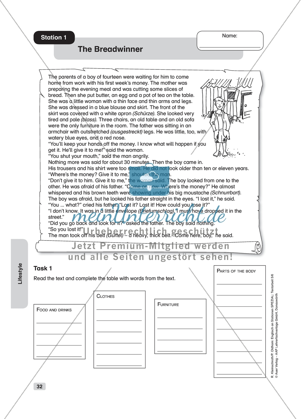 Text Work The Breadwinner Worksheet And Solution