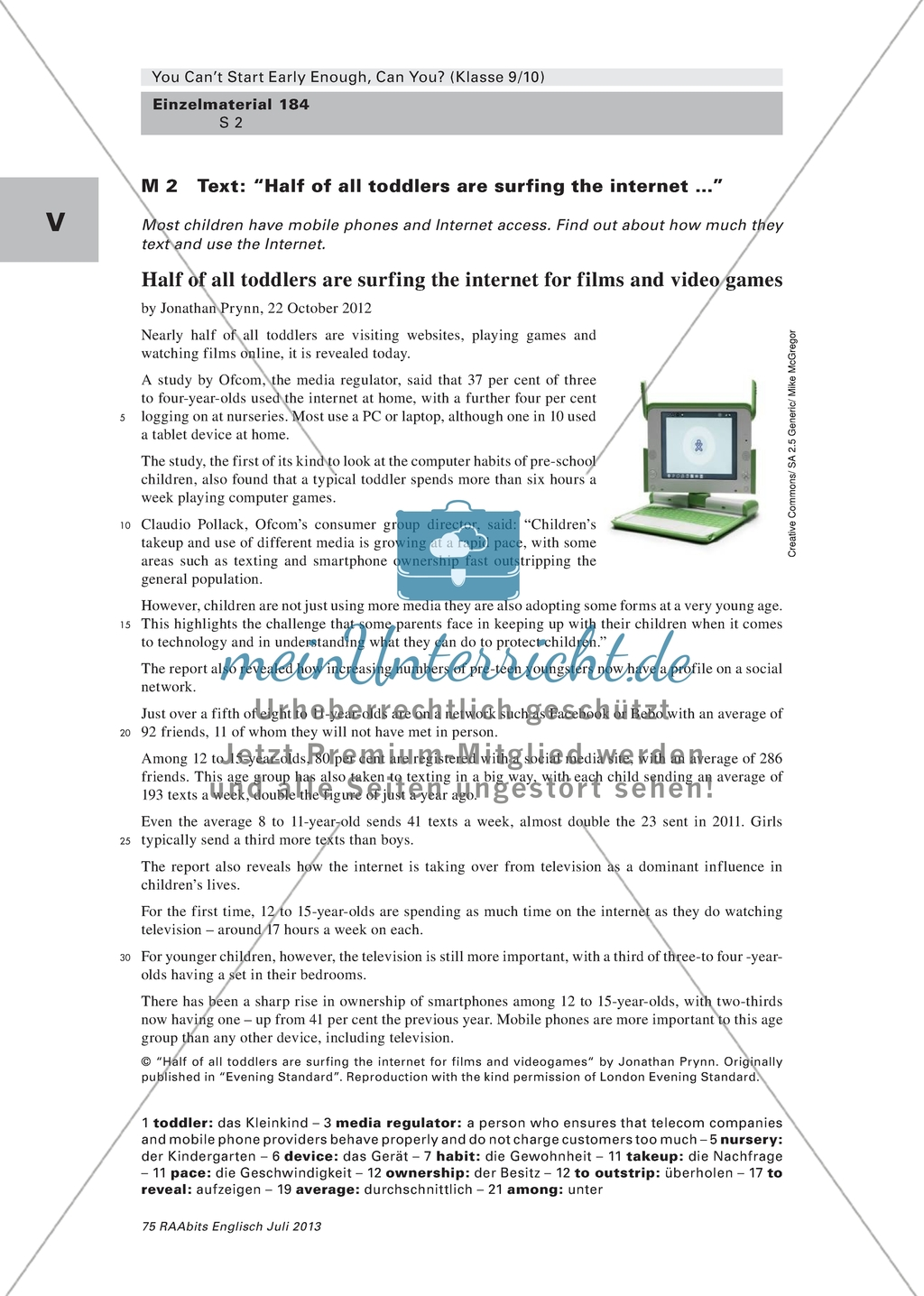 Media Use Reading A Newspaper Article And Answering