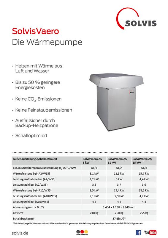 Produktdatenblatt SolvisVaero Wärmepumpe