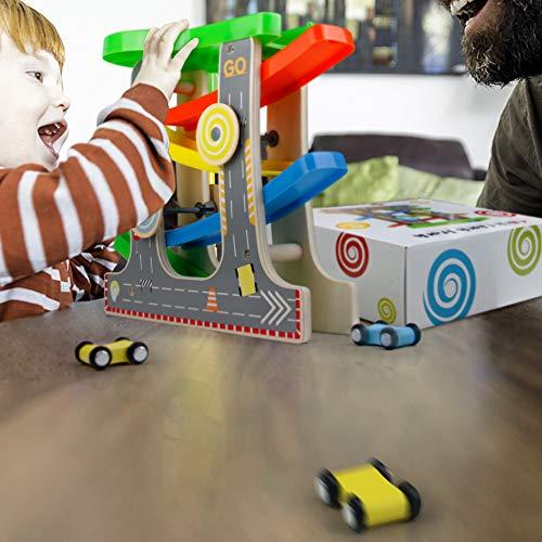 Nuheby Pista in Legno per Macchinine con 4 Auto da Corsa 4 Rampa Giocattolo  Bambini Pista da Corsa Giochi Legno Regalo Ragazza Ragazzo 3,4,5,6 Anni