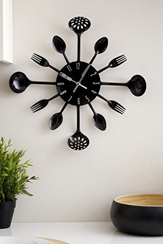 Premier Housewares PREM-2200502 Orologio da Parete, Metallo, Nero, 33x4x33 cm - 3