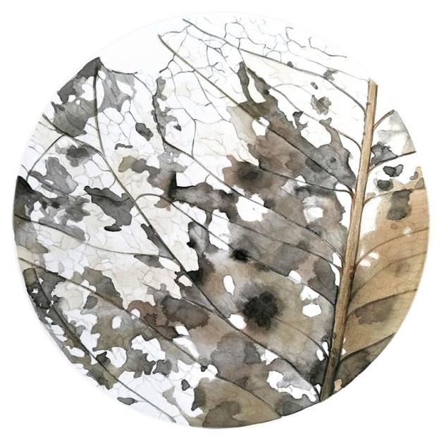 ritratto di foglia 1, 2020 - china, acquerello e matite su carta - 30 x 30 cm