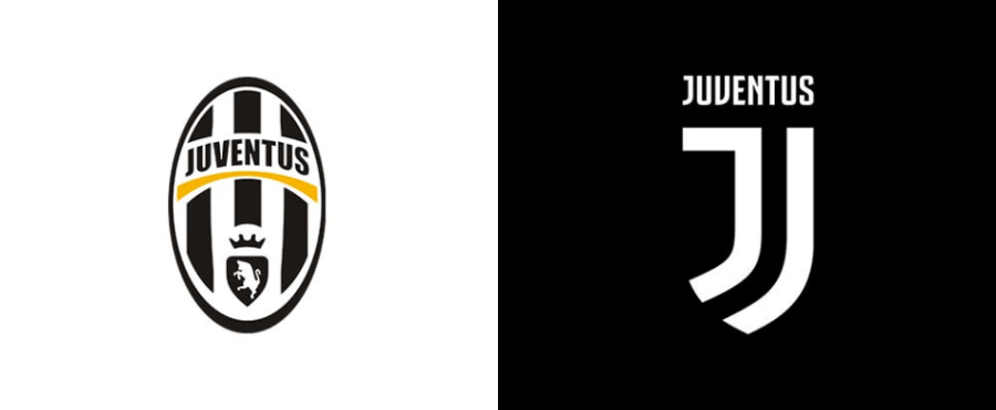Juventus logo before and after images