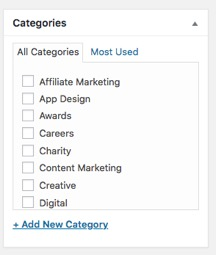 Selecting categories in wordpress