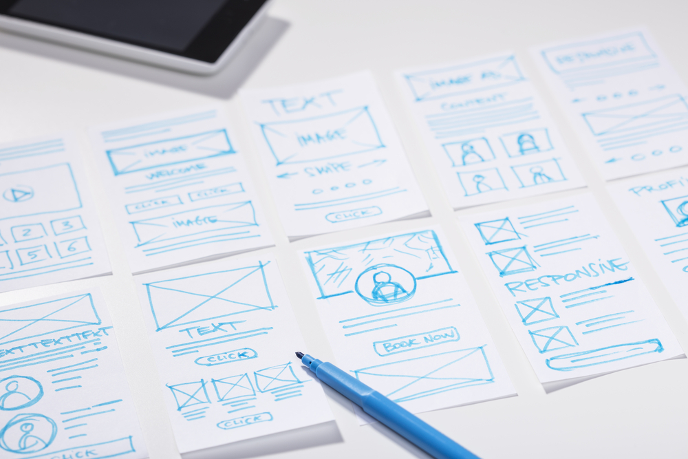 Designer using a wireframe