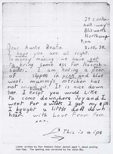 Example evacuee letter home