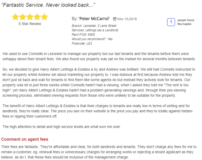 Compare letting agents in Leicester : Connells Leicester vs Harry Albert Lettings & Estates
