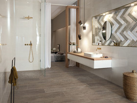 Press Loft | Image of Bad en suite mit behaglicher Holzoptik for