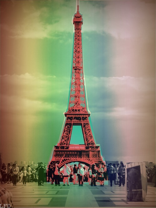 eiffel tower, paris, rainbow, vintage