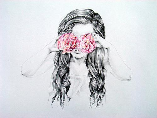 art, bangbangg, drawing, flowers, girl