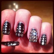 black diamond glitter nail art