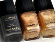black chanel colors gold nail