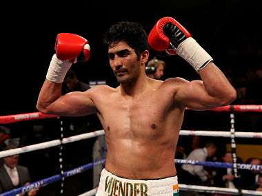Vijender Singh, after winning his pro-debut. Getty Images